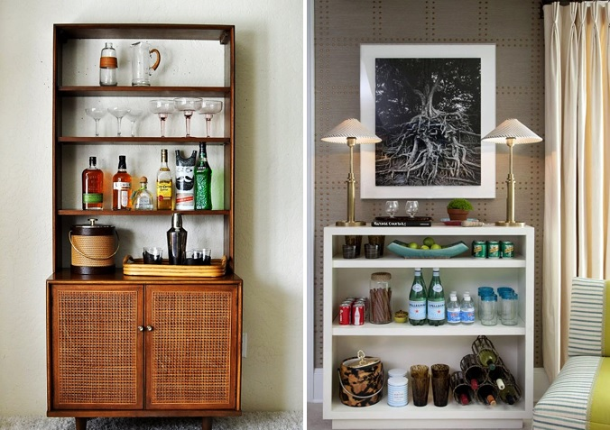 7 WAYS TO HAVE A STYLIST BEVERAGE CENTER KATE DWELL IN STYLE_ BOOKCASE