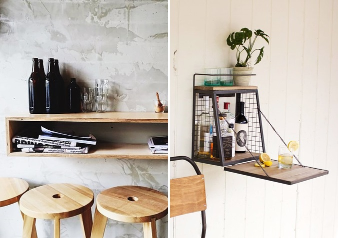 7 WAYS TO HAVE A STYLIST BEVERAGE CENTER KATE DWELL IN STYLE_ FLOATING SHELF