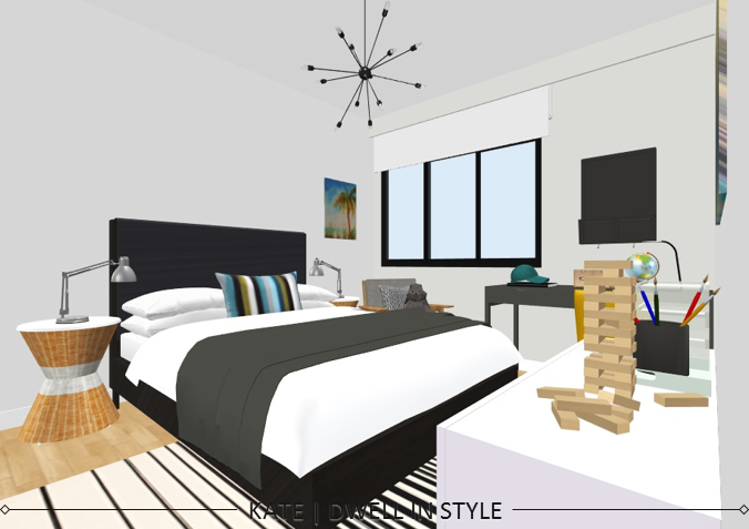 STYLE CHALLENGE - TRANSITIONAL CREATIVE BOY'S BEDROOM KATE DWELL IN STYLE_3D DESIGN_4