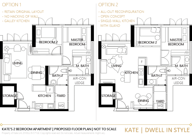 MY 2 BEDROOM APARTMENT DESIGN PLAN OPTIONS KATE DWELL IN STYLE